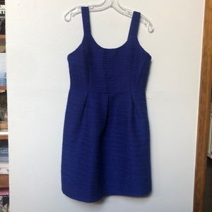 Shimmery sapphire tweed pleated dress
